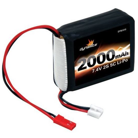 Picture of Dynamite DYN1419 7.4V 2000mAh 2S 5C LiPo Receiver Pack: 1/8