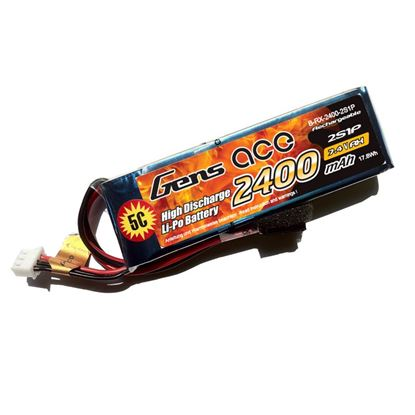 Picture of Gens Ace GA2400-2S-RX 7.4v 2400mAh RX LiPo Battery