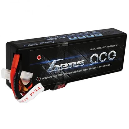 Picture of Gens Ace 5000mAh 7.4v 2S 50C Car Pack fixed Wires with XT60, deans adapter included