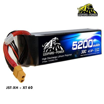 Picture of Leopard Power 4s 14.8v 5200mah 30c XT60 Lipo Battery
