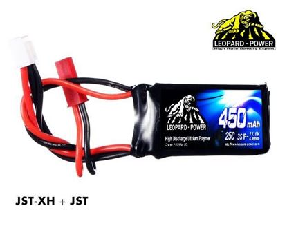 Picture of Leopard Power 3s 11.1v 450mah 25c Lipo Battery with JST