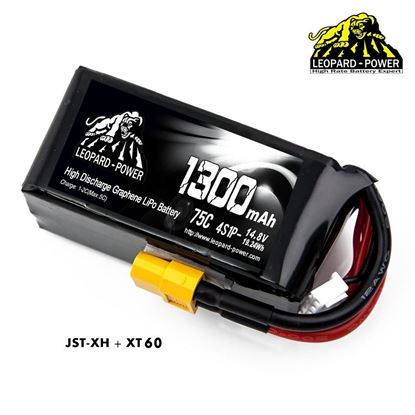 Picture of Leopard Power 4s 14.8v 1300mah 75c Graphene Lipo Battery with XT60