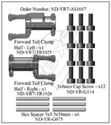 Picture of CYB ND-YR7-AS1017 Front Tail Boom Clamp Set R7