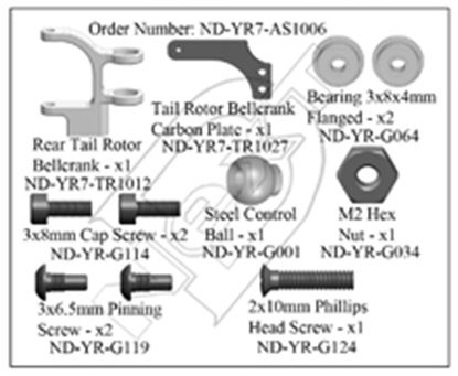 Picture of CYB ND-YR7-AS1006 Rear Tail Rotor Bellcrank Set R7