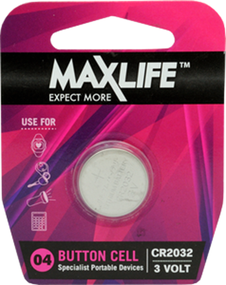 Picture of Maxlife BAT2032 CR2032 Lithium 3.0V Button Cell