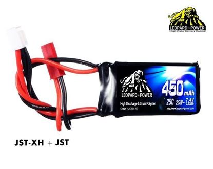Picture of Leopard Power 2s 7.4v 450mah 25c Lipo Battery with JST
