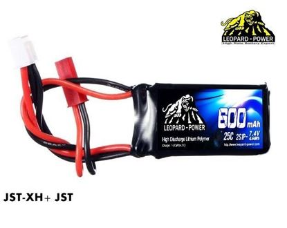 Picture of Leopard Power 2s 7.4v 600mah 25c Lipo Battery with JST