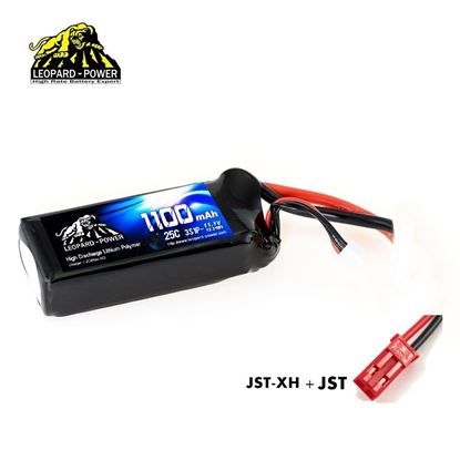 Picture of Leopard Power 3s 11.1v 1100mah 25c Lipo Battery with JST