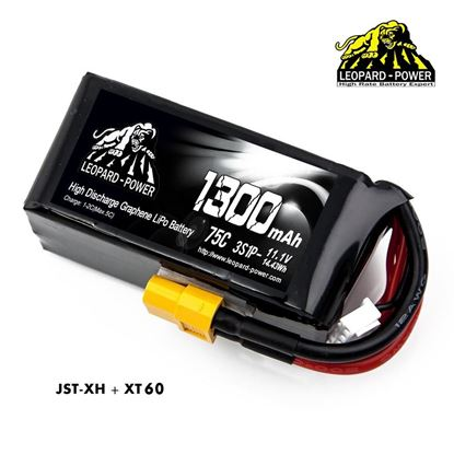 Picture of Leopard Power 3s 11.1v 1300mah 75c Graphene Lipo Battery with XT60