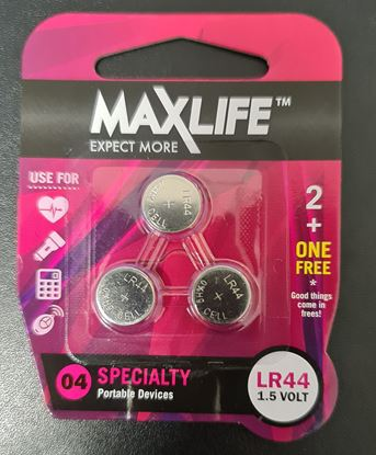 Picture of Maxlife BAT44-A2 3 Pack Alkaline Button Cell LR44