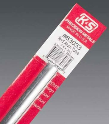 "Picture of K&S 83033 Round Aluminum Tube, 3/8"" OD x 0.035"" Wall Thickness x 12"" Length"