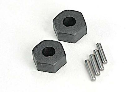 Picture of Traxxas 4954R Wheel hubs, hex (2)/ stub axle pins (2)