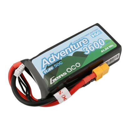 Picture of Gens Ace GA3600-3S50-S-A Adventure 3S 11.4V 3600mah 50C Shorty with XT60