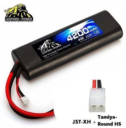 Picture of Leopard Power 2s 7.4v 4200mah 40c Lipo Battery with Tamiya- Round HS