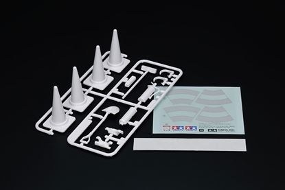 Picture of Tamiya 56558 Scale RC Accessory Set- (4 Cones, shovel, brush & fire extinguisher)
