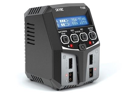 Picture of SkyRC T100 SK-100162 Dual Battery Charger 50W x 2, 2-4 Cells